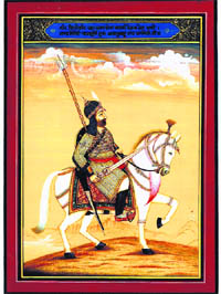 Sri Guru Ajanubahu Rao Dhansinghji of Dadri has been shown fully armed, with a zira-buktar and steel helmet, holding a large drawn sword with the right hand and reigns of the horse with the left