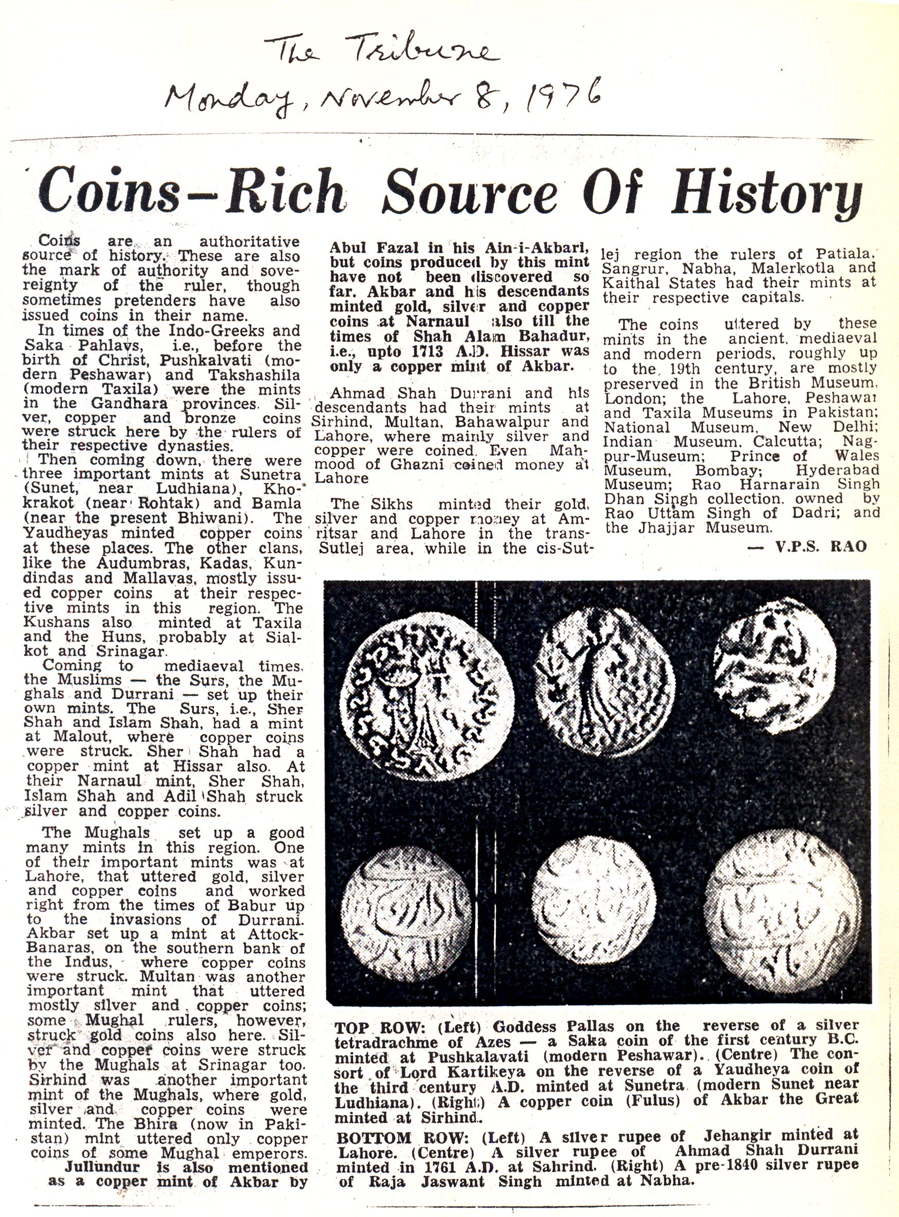 50. Sri VPS Rao on Coins — Rich Source of History